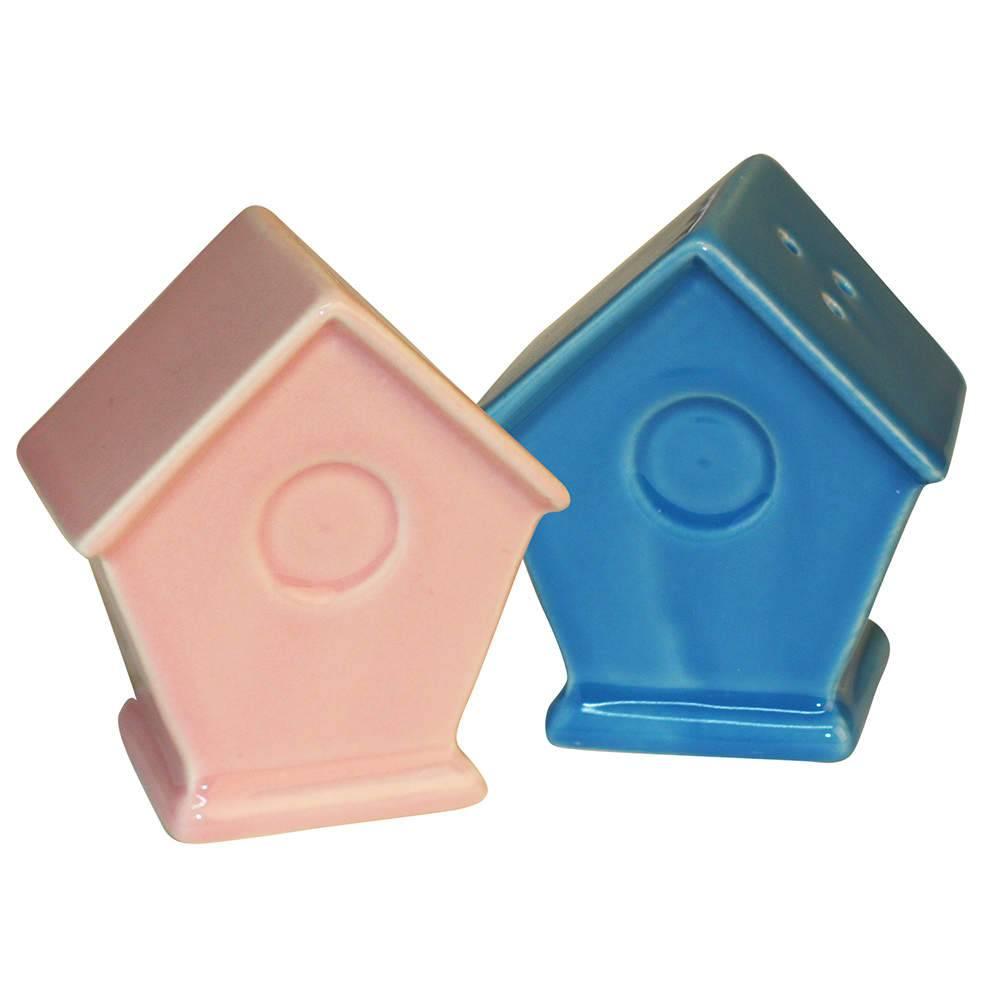 Saleiro e Pimenteiro Little Houses Rosa e Azul em Cerâmica - Urban - 11,5x6,5 cm