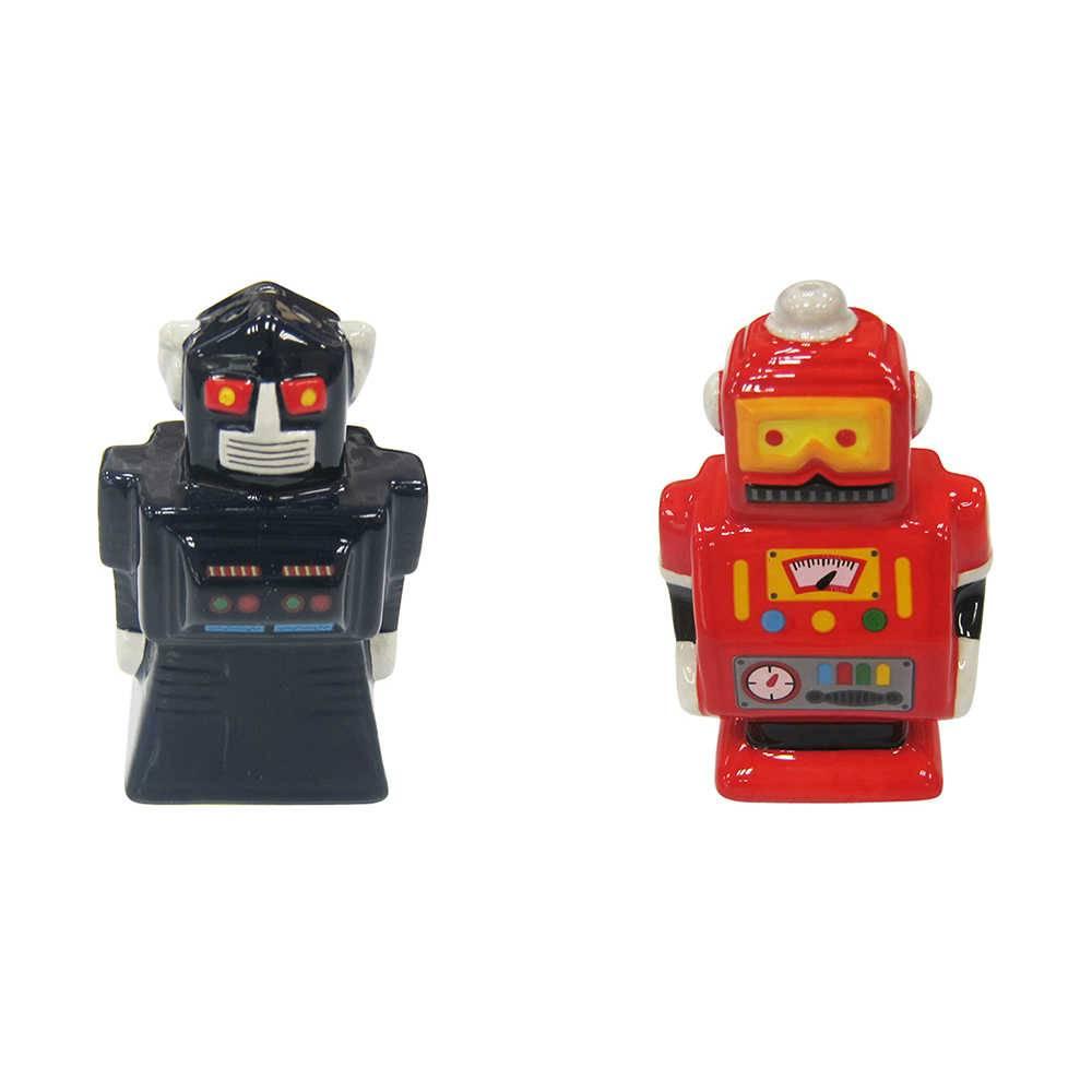 Saleiro e Pimenteiro Robot Colorido em Cerâmica - Urban - 8x5,5 cm