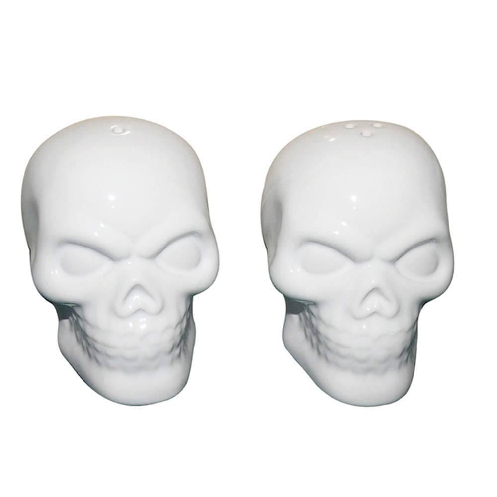 Saleiro e Pimenteiro Skulls Brancos em Cerâmica - Urban - 11,5x7,5 cm