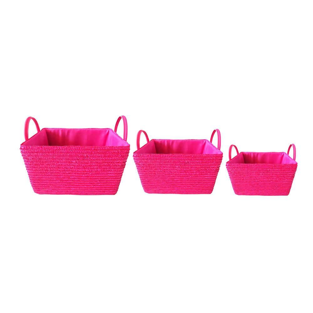 Conjunto 3 Cestas Pink em Palha com Alça - Urban - 30x20 cm