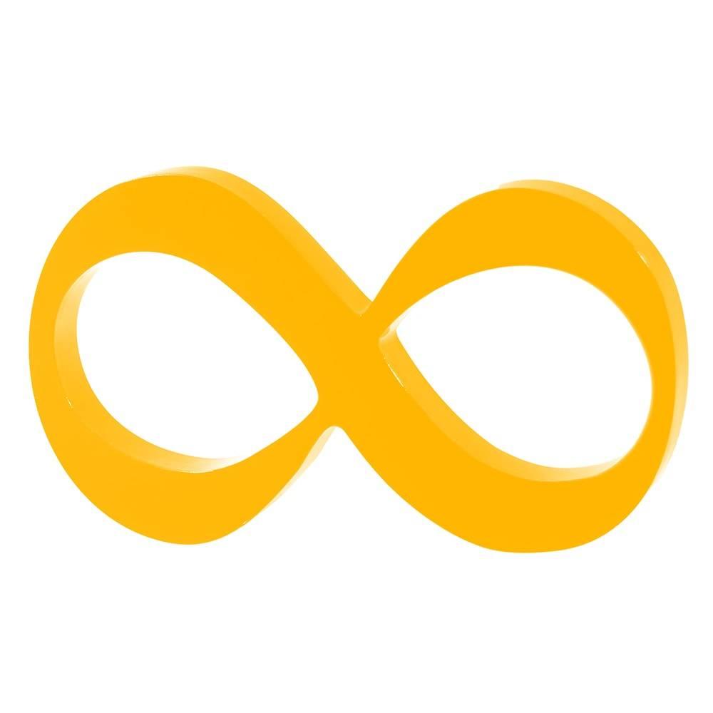 Símbolo Decorativo Infinito Amarelo em MDF - 30x17 cm