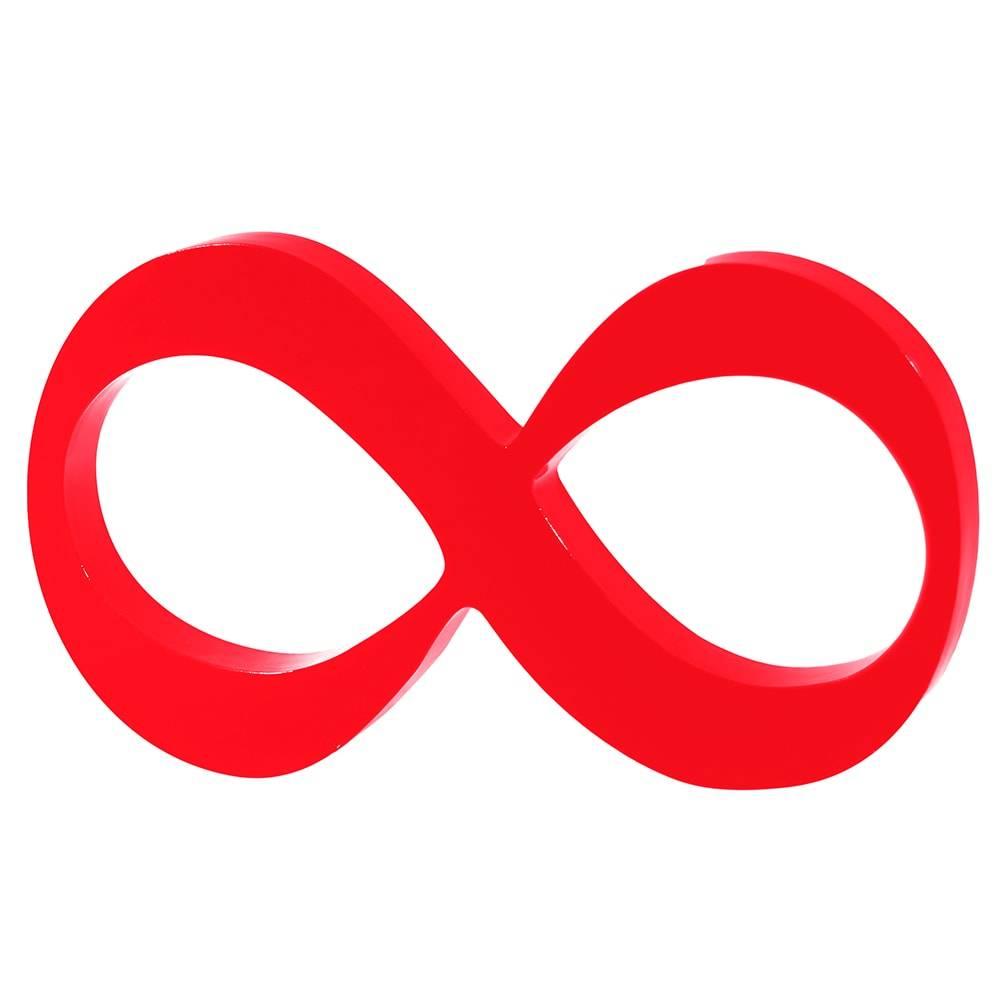 Símbolo Decorativo Infinito Vermelho em MDF - 30x17 cm