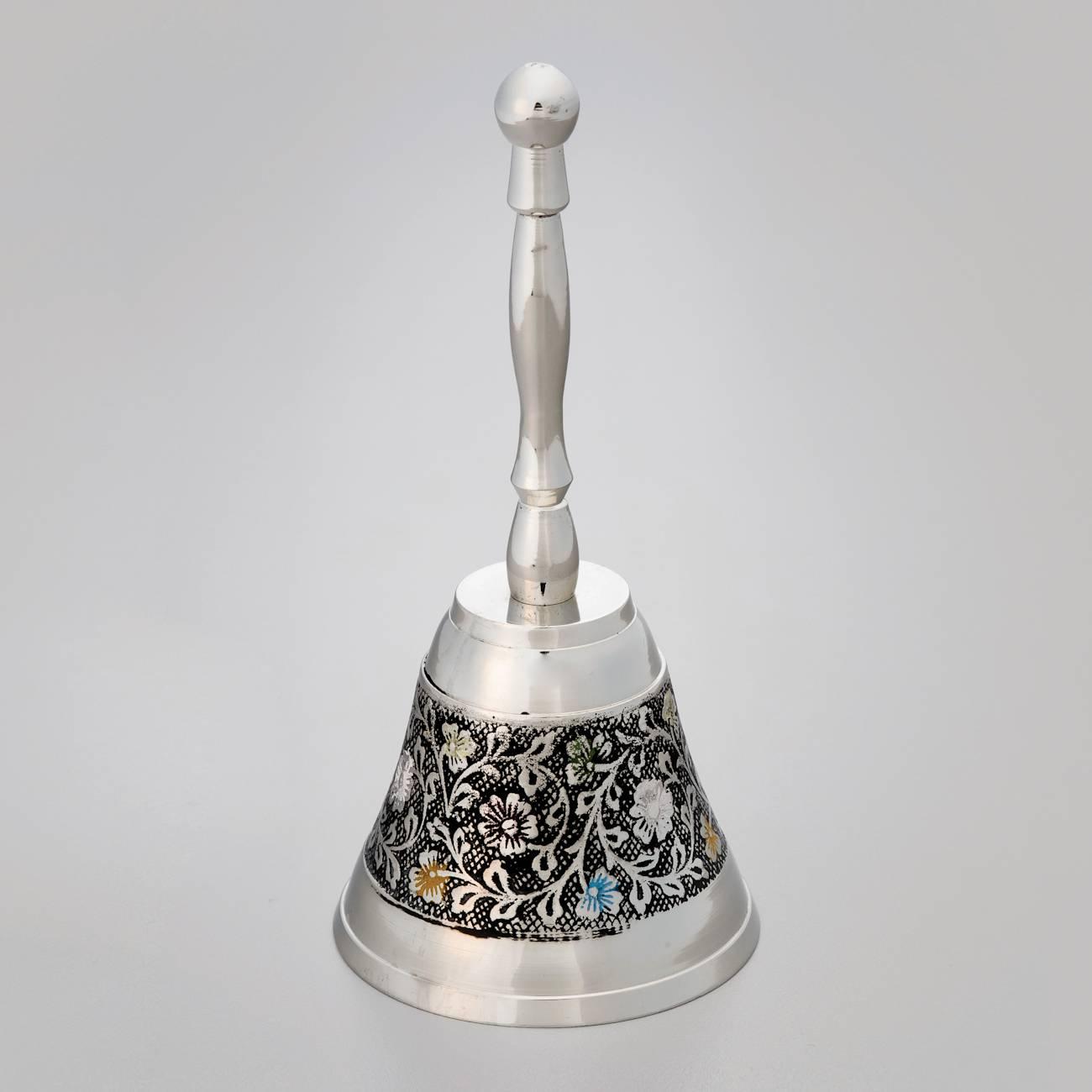 Sino de Mesa Flores Prata e Preto em Metal - Prestige - 14,5x6 cm