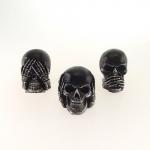 Skull cega, surda e muda prata