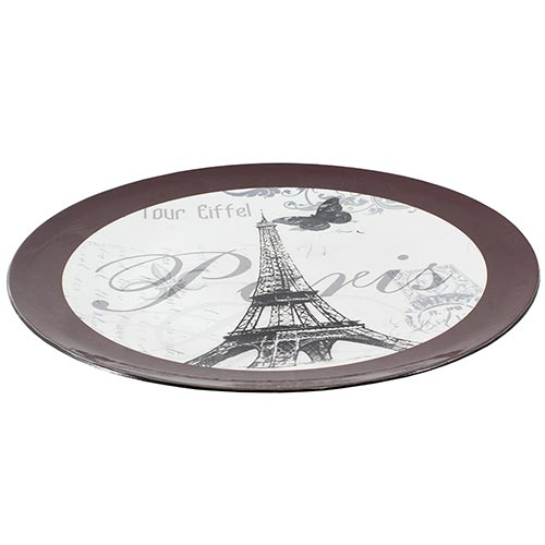 Sousplat Borda Marrom Paris Eiffel Fullway - 33cm