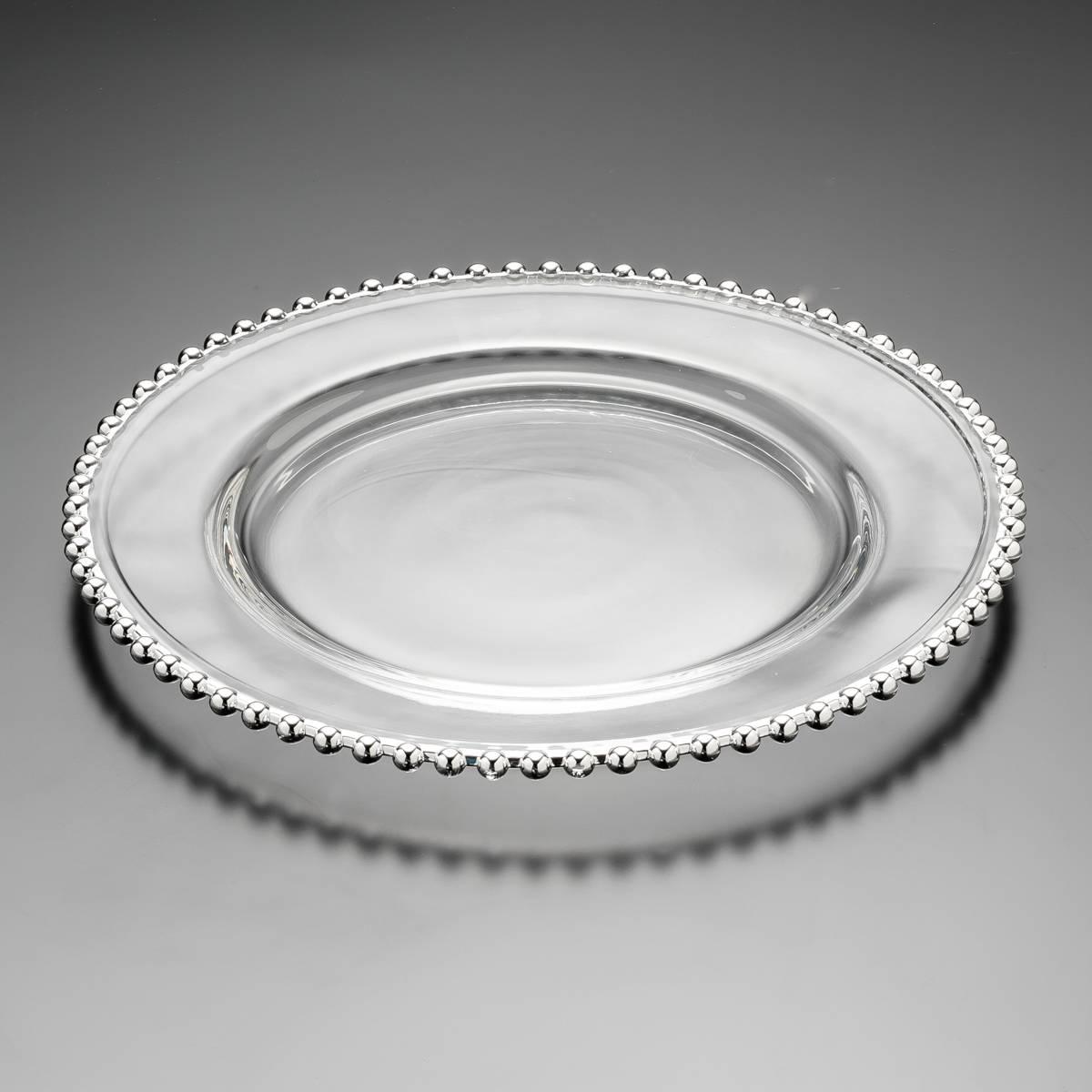 Sousplat Pérola Prateado em Cristal - Wolff - 31,5 cm