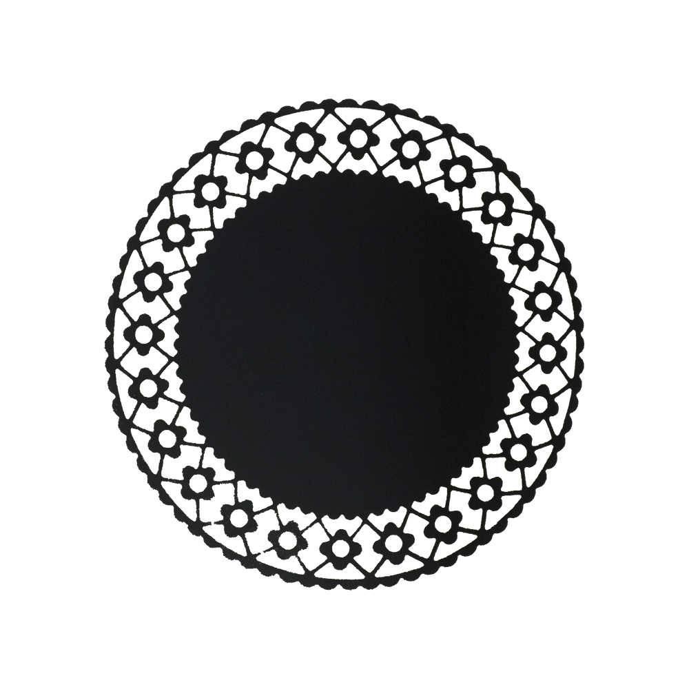 Sousplat Daisy Preto - 6 Peças - em Papel Especial - 35x35 cm