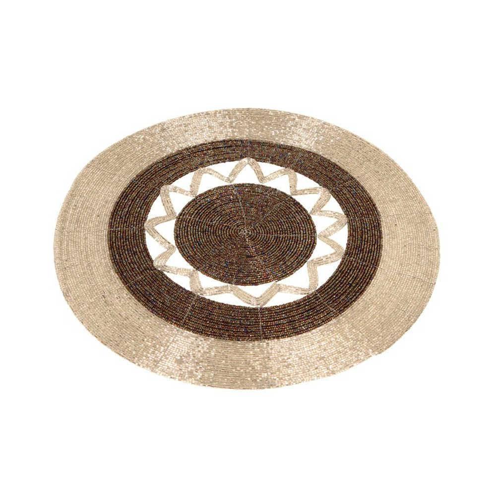 Sousplat Desert Dourado e Marrom Detalhado com Vidrilhos - 36 cm