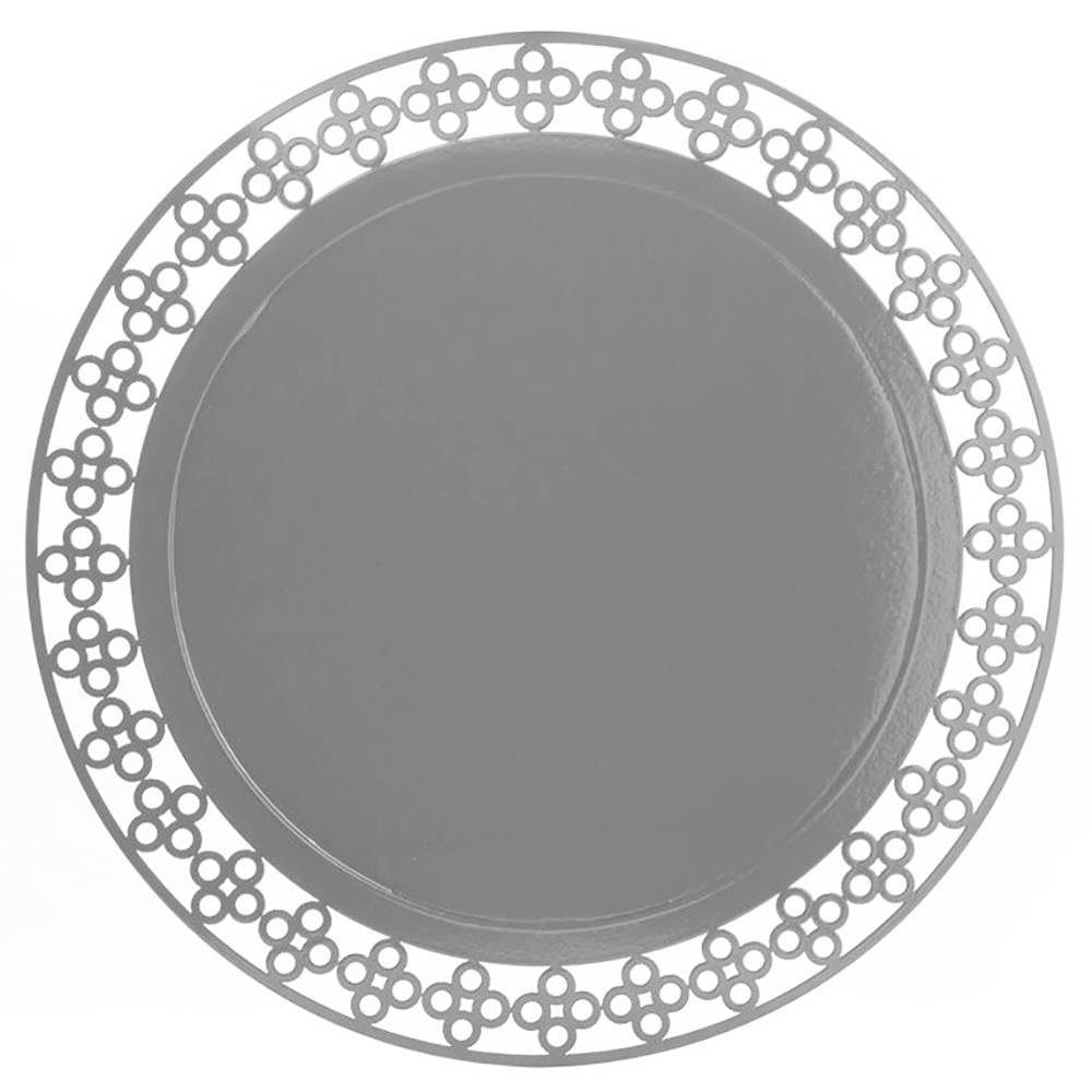 Sousplat Detail Redondo em MDF Laqueado Prata - 34 cm