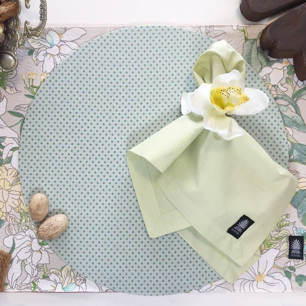 Sousplat Limão Poá em MDF com Proteção em Tecido - 35 cm