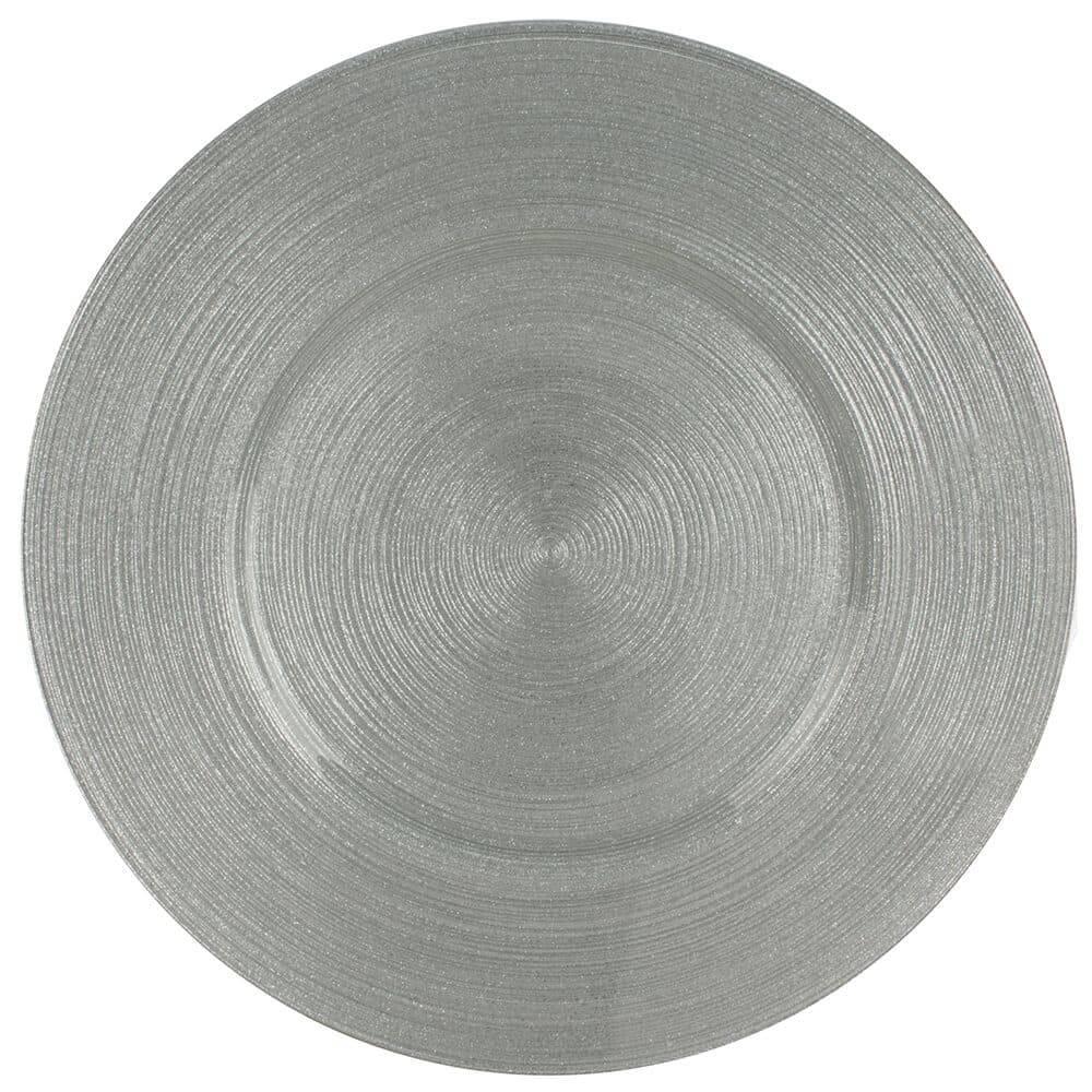 Sousplat Redondo Circlea Prata em Vidro - L Hermitage - 33 cm