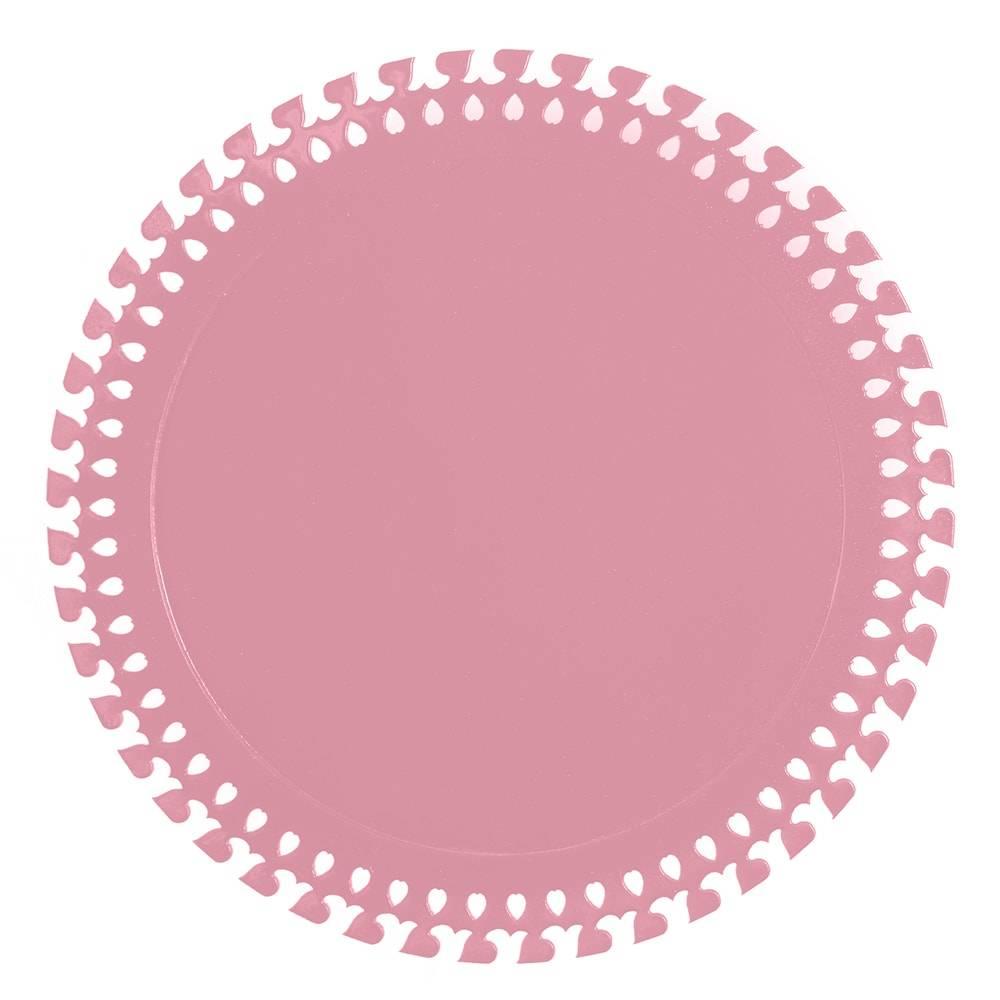 Sousplat Roma em MDF Laqueado Rosa - 32 cm