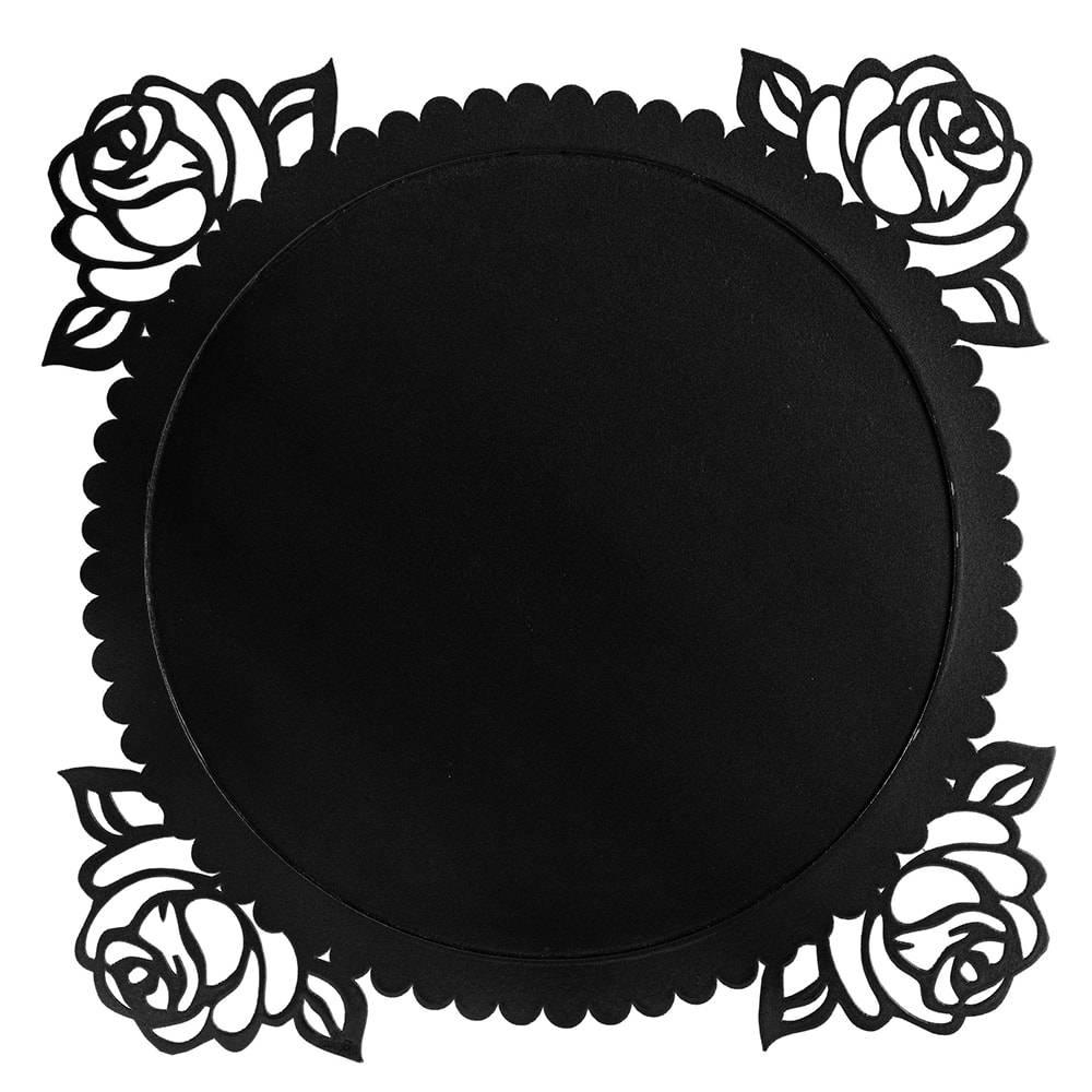 Sousplat Roses em MDF Laqueado Preto - 38x38 cm
