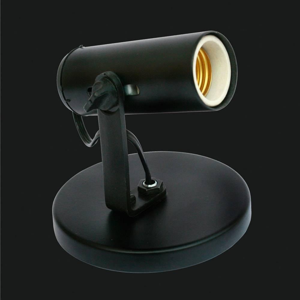 Spot Tubinho Preto Articulado - de Parede ou Teto - em Alumínio - 12x12 cm