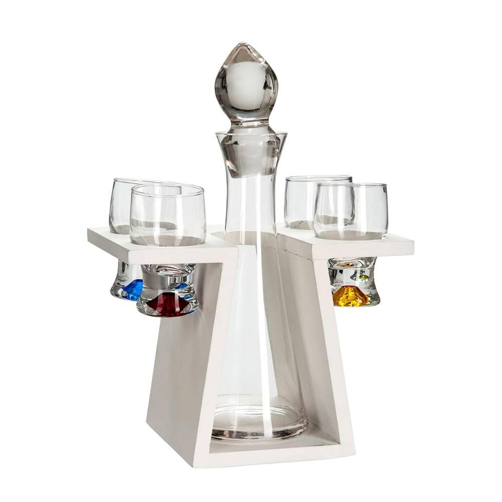 Suporte com 1 Garrafa e 4 Taças Branco/Transparente em Vidro - 21x18,5 cm