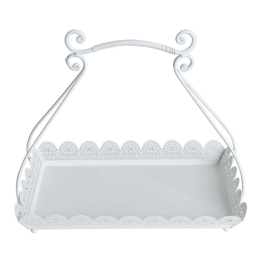Suporte para Doces Branco - com Alça - em Metal - Bon Gourmet - 38,5x31,5 cm