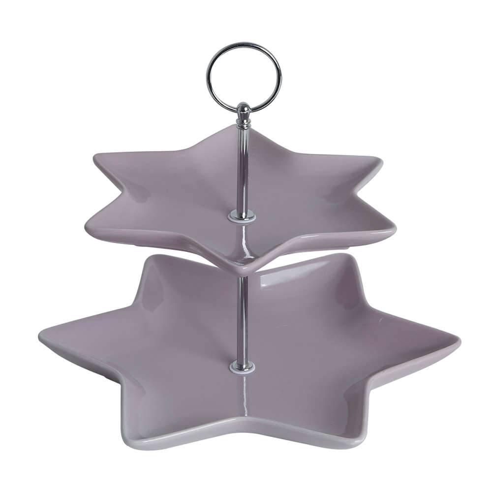 Suporte para Doces Lilás em Porcelana - 2 Andares - com Haste de Metal - Bon Gourmet - 23x20 cm
