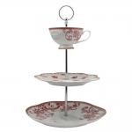 Suporte para Doces Oriental Manor - Finecasa - Vermelho e Branco em Porcelana - 36x25 cm