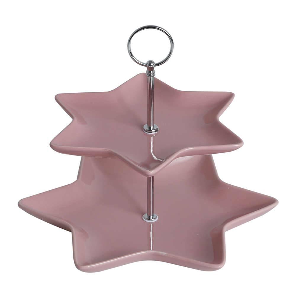 Suporte para Doces em Porcelana - 2 Andares - Rosa com Haste em Metal - Bon Gourmet - 23x20 cm