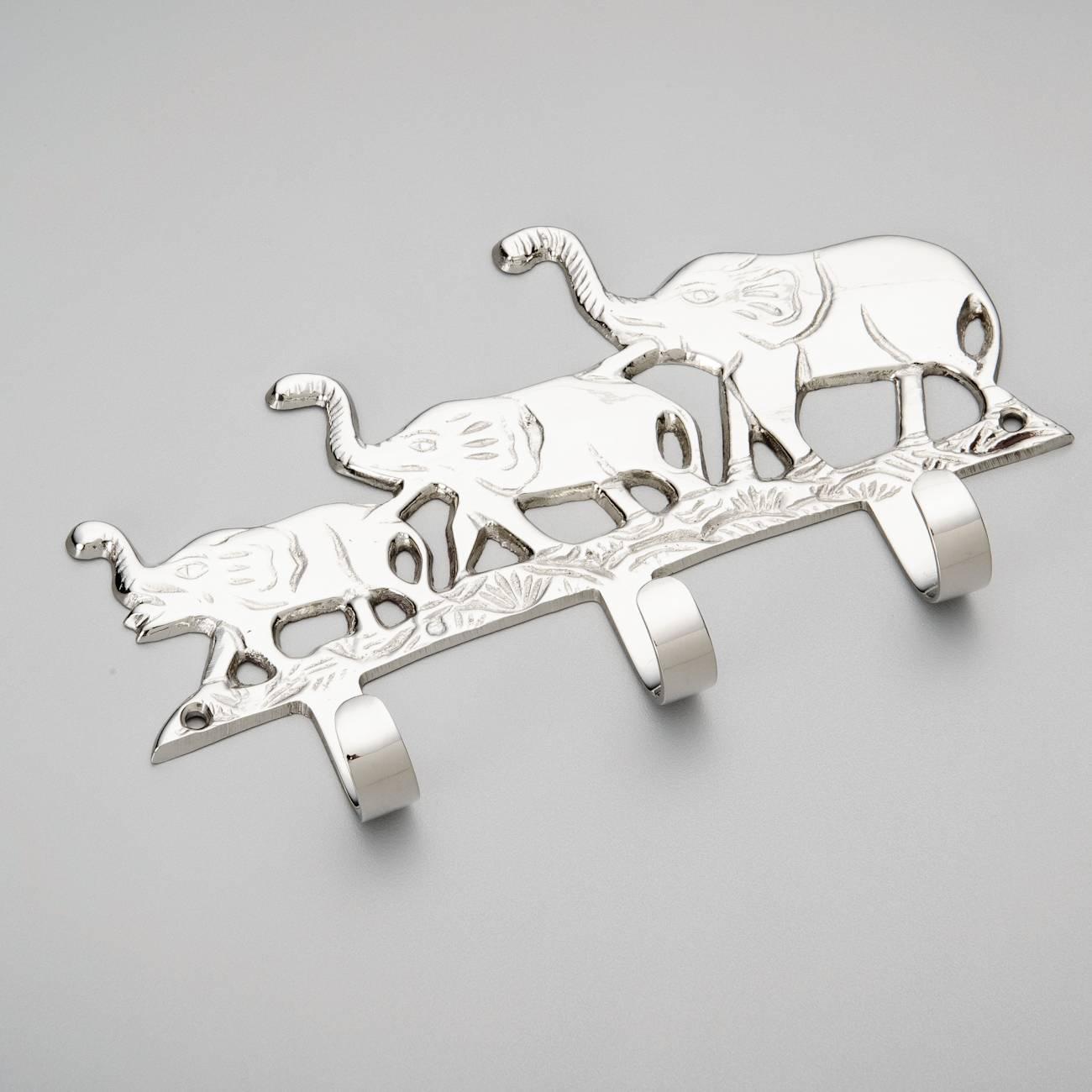 Porta-Chaves Família de Elefantes - com 3 Ganchos - em Metal - Prestige - 18x8,5 cm