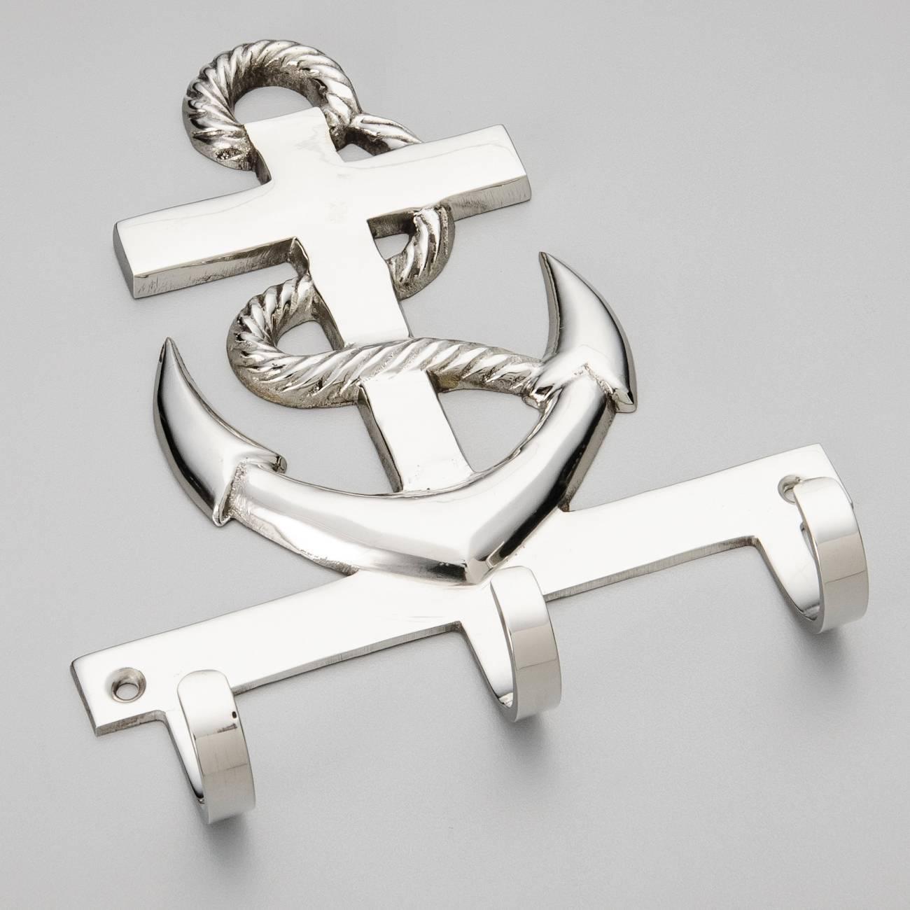 Porta-Chaves Âncora - com 3 Granchos - em Metal - Prestige - 11x10 cm