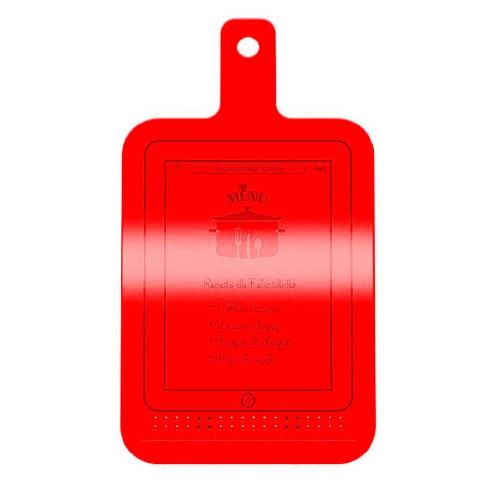 Suporte Multiuso Tábua de Receita em MDF Laqueado Vermelho - 40x23 cm