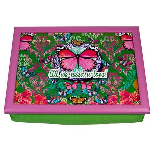 Suporte para Notebook Butterfly Verde e Rosa - com Almofada - em Madeira - 43x33 cm