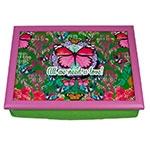 Suporte para Notebook Butterfly Verde e Rosa em Madeira