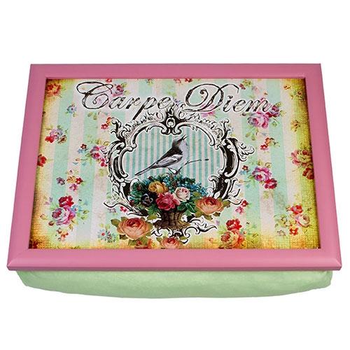 Suporte para Notebook Romantic Verde e Rosa - com Almofada - em Madeira - 43x33 cm