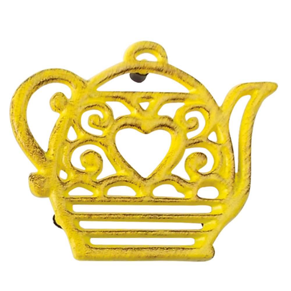 Suporte para Panela Bule Heart Amarelo em Ferro - Urban - 16x13.6 cm