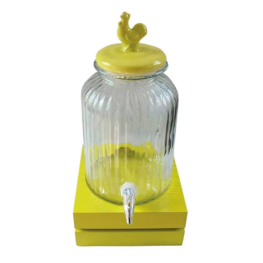 Suqueira Bird Amarelo e Transparente 3 Litros em Vidro - Urban - 44,5x22 cm