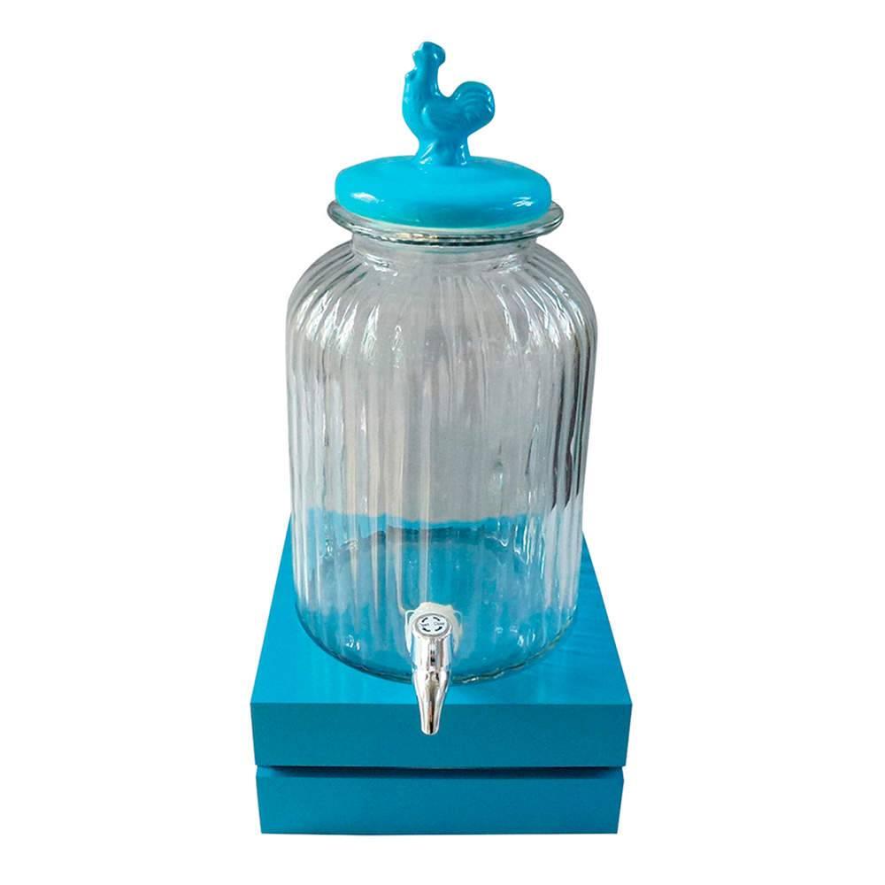 Suqueira Bird Azul e Transparente 3 Litros em Vidro - Urban - 44,5x22 cm