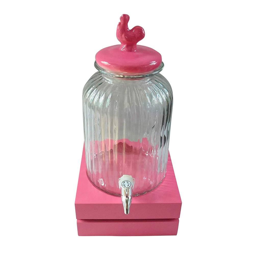 Suqueira Bird Rosa e Transparente 3 Litros em Vidro - Urban - 44,5x22 cm