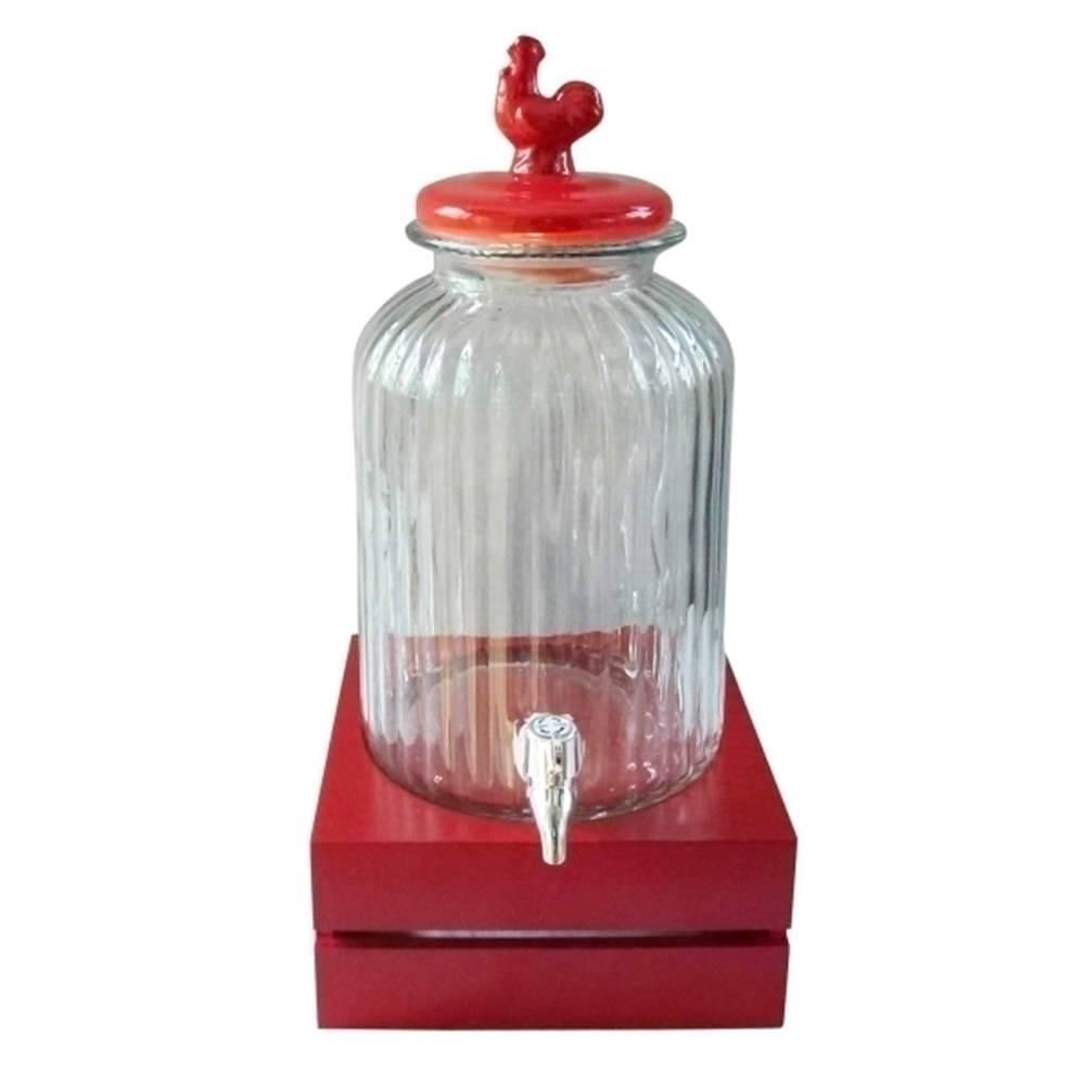 Suqueira Bird Vermelha e Transparente 3 Litros em Vidro - Urban - 44,5x22 cm