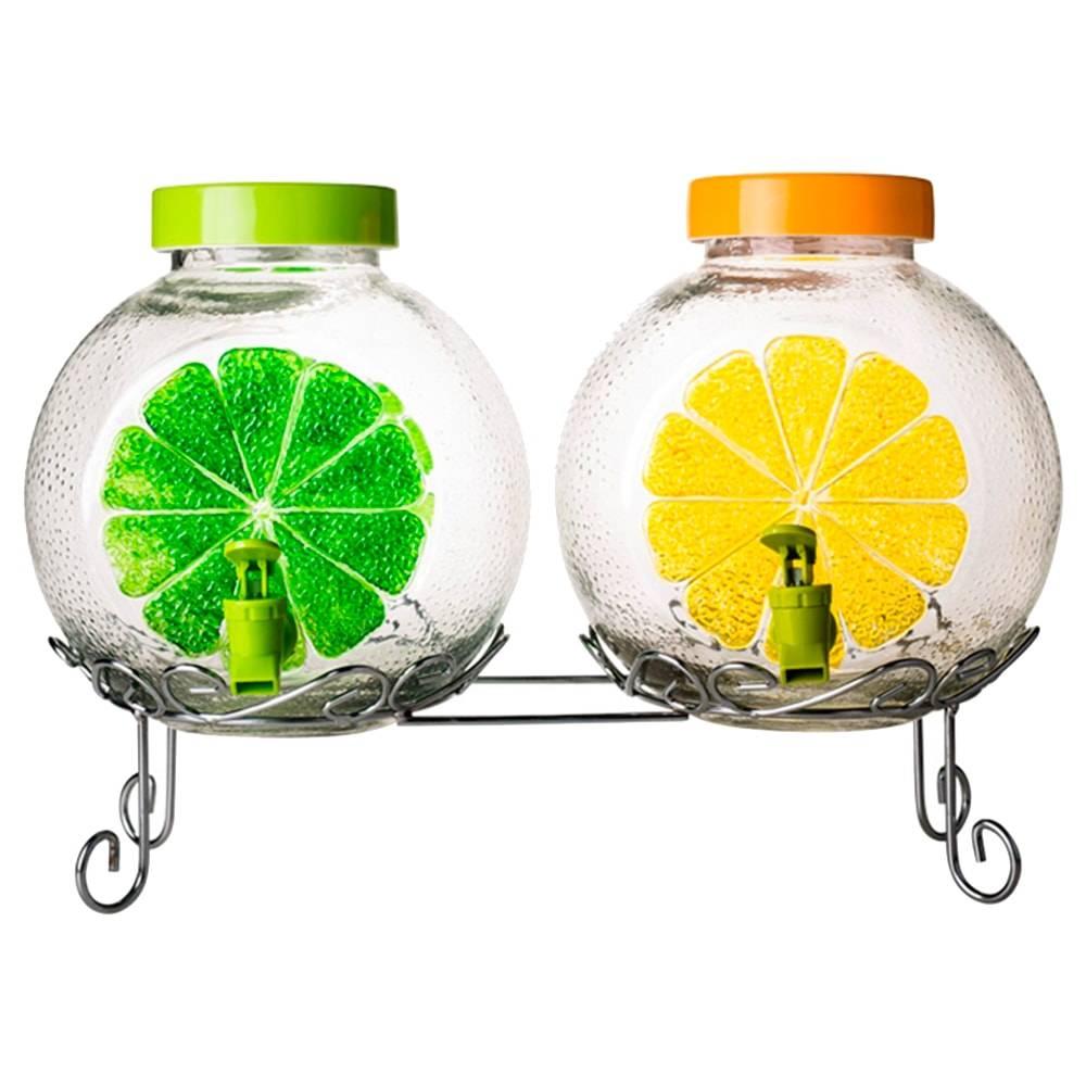 Suqueira Dupla Frutinhas Transparente em Vidro - 26x26 cm