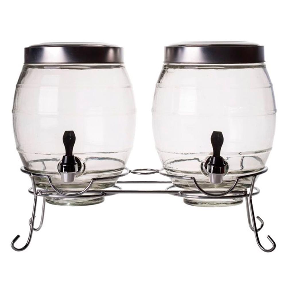 Suqueira Dupla Potiches em Vidro Transparente - 33x15 cm