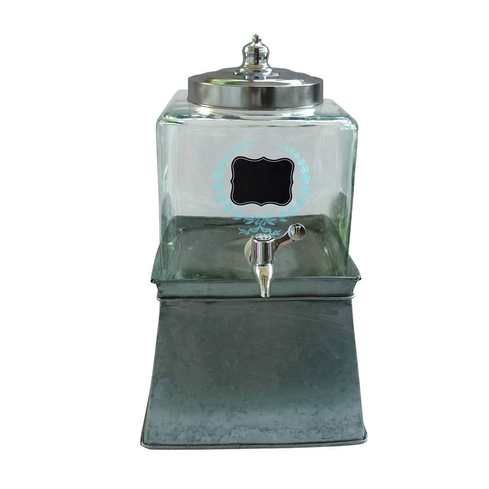 Suqueira Transparente 5 Litros em Vidro com Base em Metal - Urban - 30x24 cm