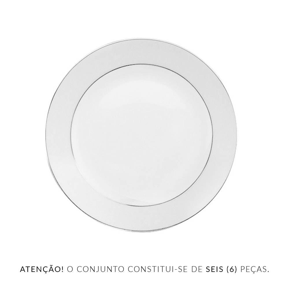 Conjunto 6 Pratos para Sobremesa Nice Silver em Porcelana - Wolff - 20,5 cm