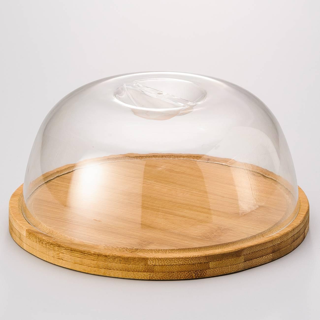 Tábua com Tampa Dome Round em Bambu - Bon Gourmet - 18x9 cm