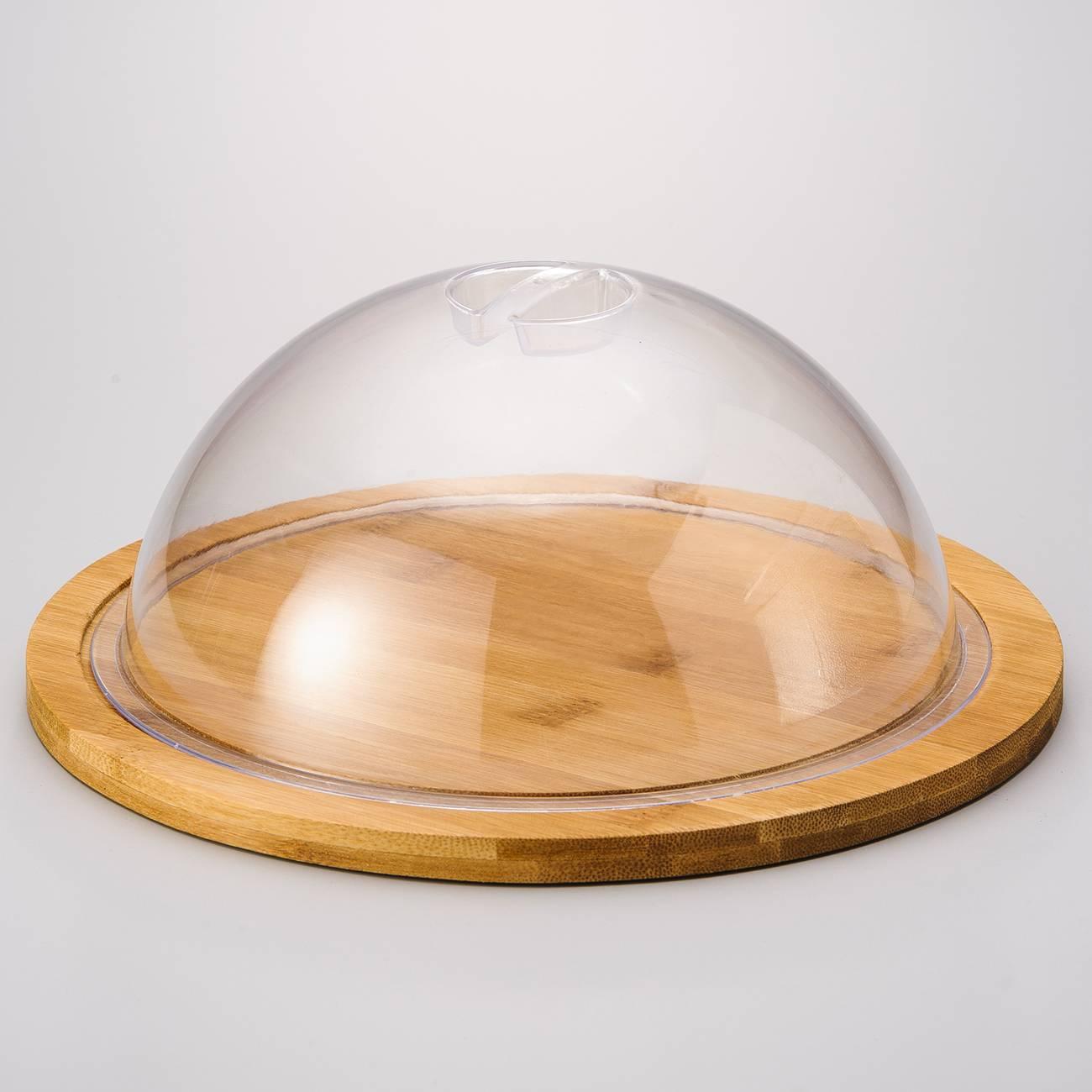 Tábua com Tampa Dome Dy em Bambu - Bon Gourmet - 25x10,5 cm
