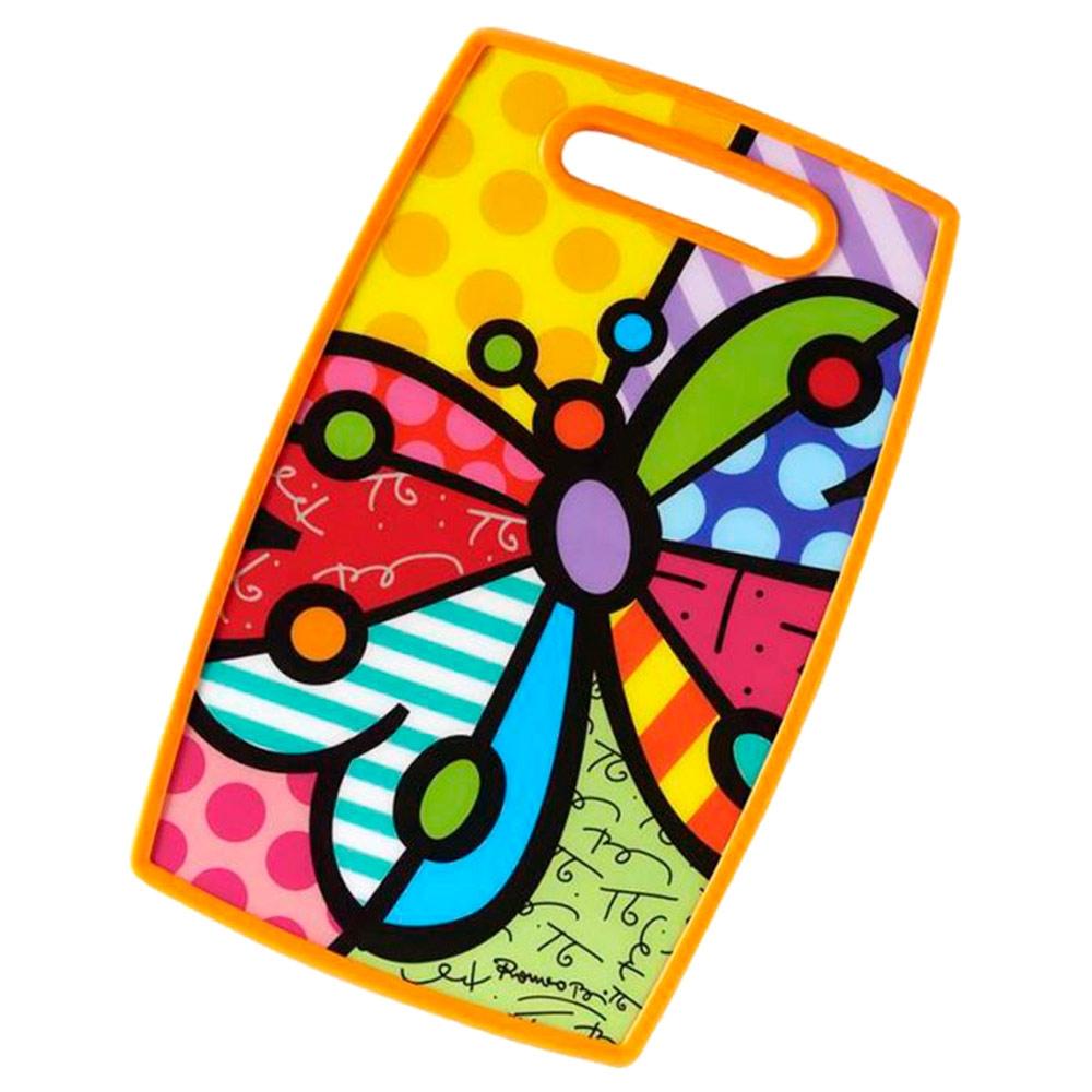 Tábua de Corte Butterfly - Romero Britto - em Madeira - 37x23 cm