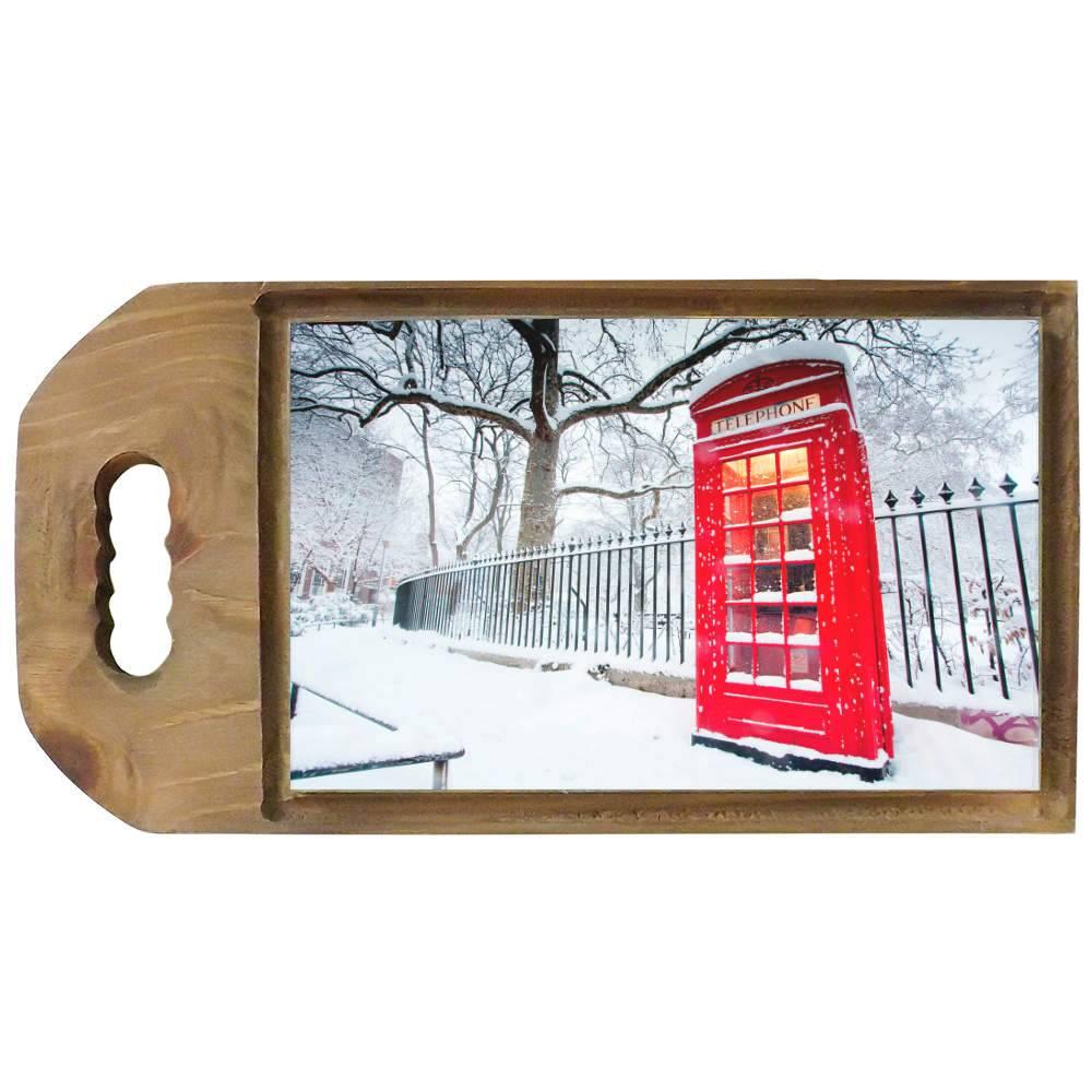 Tábua para Corte Cabine Telefônica Inverno em Madeira - 42,5x23 cm