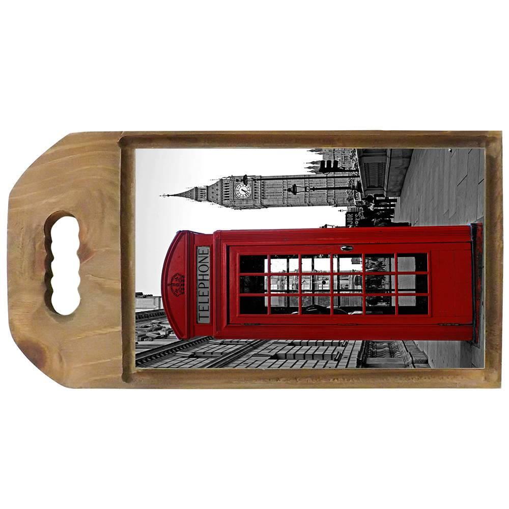 Tábua para Corte Cabine Telefônica Londrina Vermelha em Madeira - 42,5x23 cm