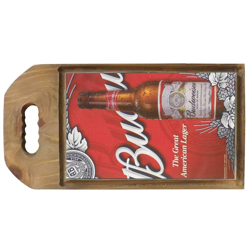 Tábua para Corte Cerveja Budweiser Vermelho em Madeira - 42,5x23 cm