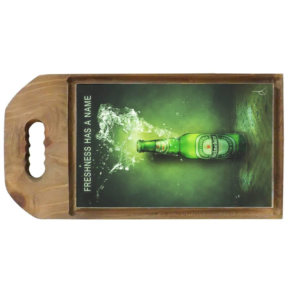 Tábua para Corte Cerveja Heineken Verde em Madeira - 42,5x23 cm