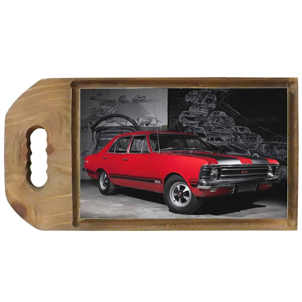 Tábua para Corte Chevrolet Vermelho em Madeira - 42,5x23 cm