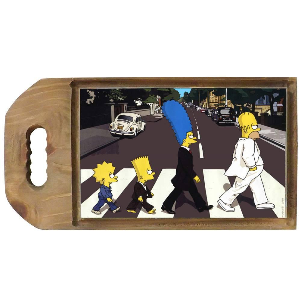 Tábua para Corte The Simpsons - The Beatles - em Madeira - 42,5x23 cm
