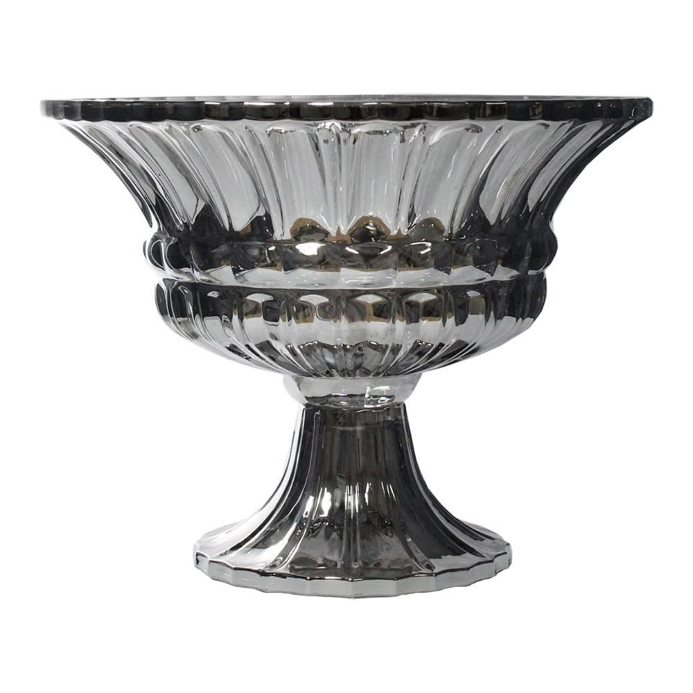Taça Aland Cromado em Vidro - 30,5x24 cm