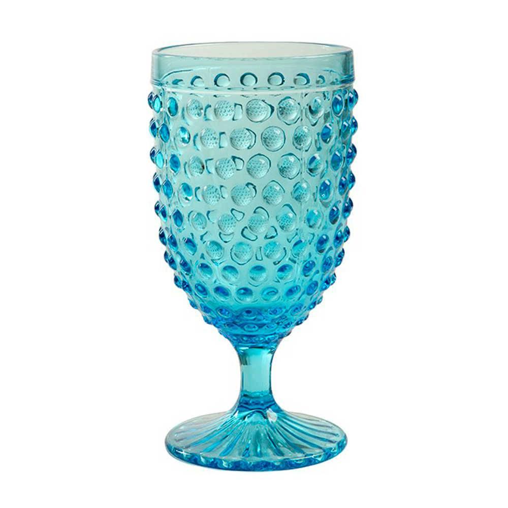Taça para Champagne Hobnail Azul - 350 ml - em Vidro - 17x9 cm