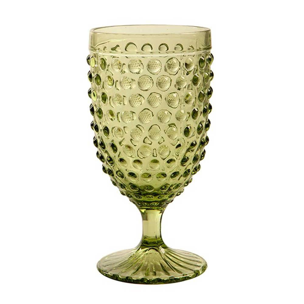 Taça para Champagne Hobnail Verde - 350 ml - em Vidro - 17x9 cm